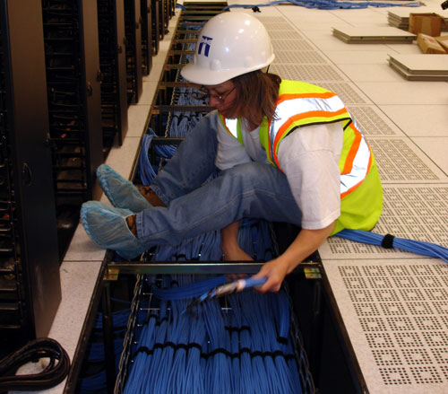Lighthouse Electric | Undisclosed Data Center 1 | Technician Installing Network Cabling